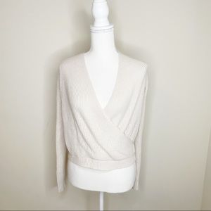 Molly Green Wrap Sweater Blouse Size M